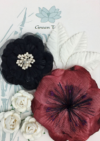 Fabric Flowers Burgundy/Black pack