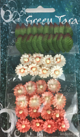 Pack of 24 Mimosas (1.5cm) & 20 Leaves (2cm), PEACH