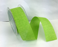 38mm Linen Look Ribbon, 20 Metres Lime Green
