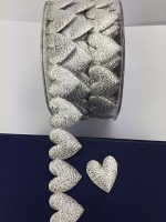 25mm Padded Glitter Hearts 10m Silver