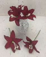 25 Wired Lilies 6.5cm, CHRISTMAS RED