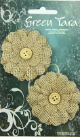 5cm Burlap Flower with Button, Natural. Retail Pack of 2.