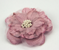 Heirloom 6.5cm Silk and Organza Flowers Dusky Pink 12pcs