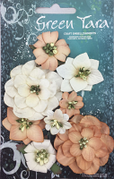 Fantasy Blooms - Pack of 8 Co-ordinated Flowers, BEIGE