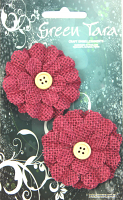 5cm Burlap Flower with Button, Raspberry. Retail Pack of 2.