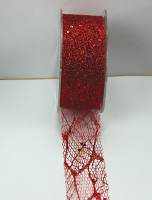 38mm Glitter Skeleton Mesh Ribbon 20 Metres, Red