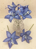 25 Wired Lilies 6.5cm, BLUE