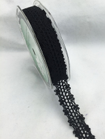 15mm Cotton Crochet Lace 10m Black