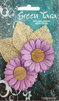 5cm Daisies - Pack of 2 with Burlap Leaves, Lavender