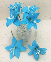 25 Wired Lilies 6.5cm, TURQUOISE