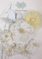 Fabric Flowers Ivory Pearl pack