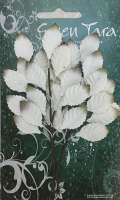 Paper Leaf Sprays 3 Sprigs of 13 Leaves 2cm White