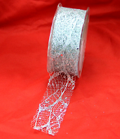 38mm Glitter Skeleton Mesh Ribbon 20 Metres, Silver