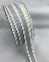 15mm Stitched Edge 20m Silver Grey