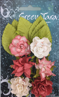 Tea Roses Pack of 6 Co-ordinated Roses 3cm with Leaves Peach