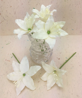 25 Wired Lilies 6.5cm, IVORY