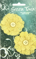 5cm Burlap Flower with Button, Yellow. Retail Pack of 2.