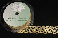 25mm Satin Glitter Lace 10m Gold