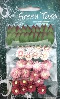 Pack of 24 Mimosas (1.5cm) & 20 Leaves (2cm), ANTIQUE PINK