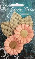 5cm Daisies - Pack of 2 with Burlap Leaves, Peach