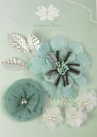 Fabric Flowers Aqua pack