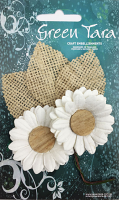 5cm Daisies - Pack of 2 with Burlap Leaves, White