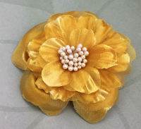 Heirloom 6.5cm Silk and Organza Flowers 12 pcs Gold