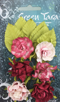 Tea Roses Pack of 6 Co-ordinated Roses 3cm with Leaves Soft Red