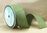 38mm Linen Look Ribbon, 20 Metres Olive