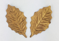100 Small Holly Leaves 4cm Gold