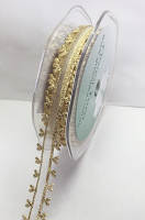 15mm Heart Edge Organza 10m Ivory Gold