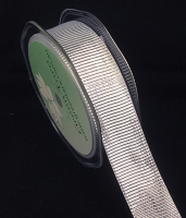 25mm Metallic Vertical Stripe 10m Silver