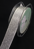 25mm Metallic Mesh Ribbon 10m Silver
