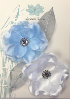Fabric Flowers Wild Rose White/Blue Pack