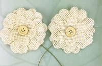 5cm Burlap Flower with Button 12 pcs Light Natural